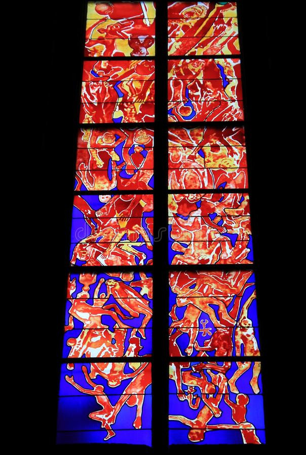 Vitrail, Cathedrale Notre-Dame, Rodez (Frankreich) stockfoto