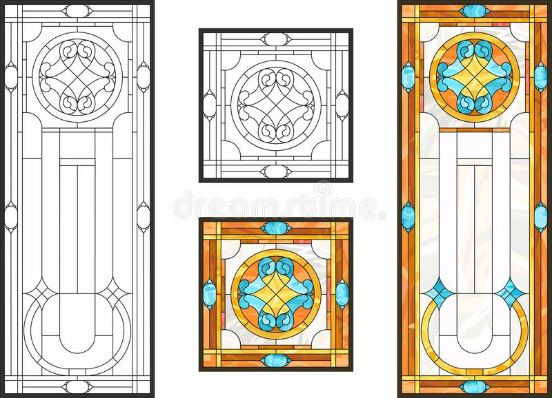 Vitral colorido en el estilo clásico para los paneles del techo o de la puerta, técnica de Tiffany stock de ilustración