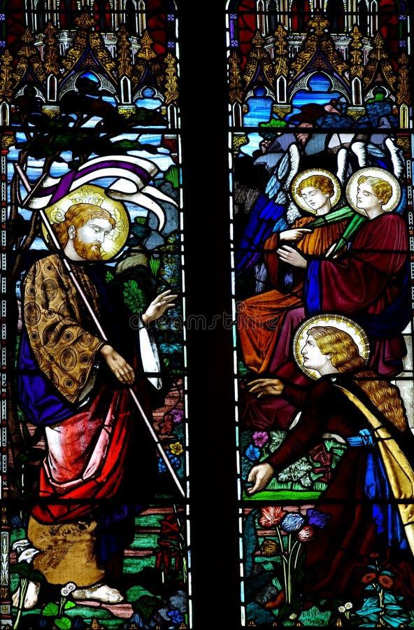 Vitral de Jesus Christ e de Mary Magdalene fotografia de stock royalty free