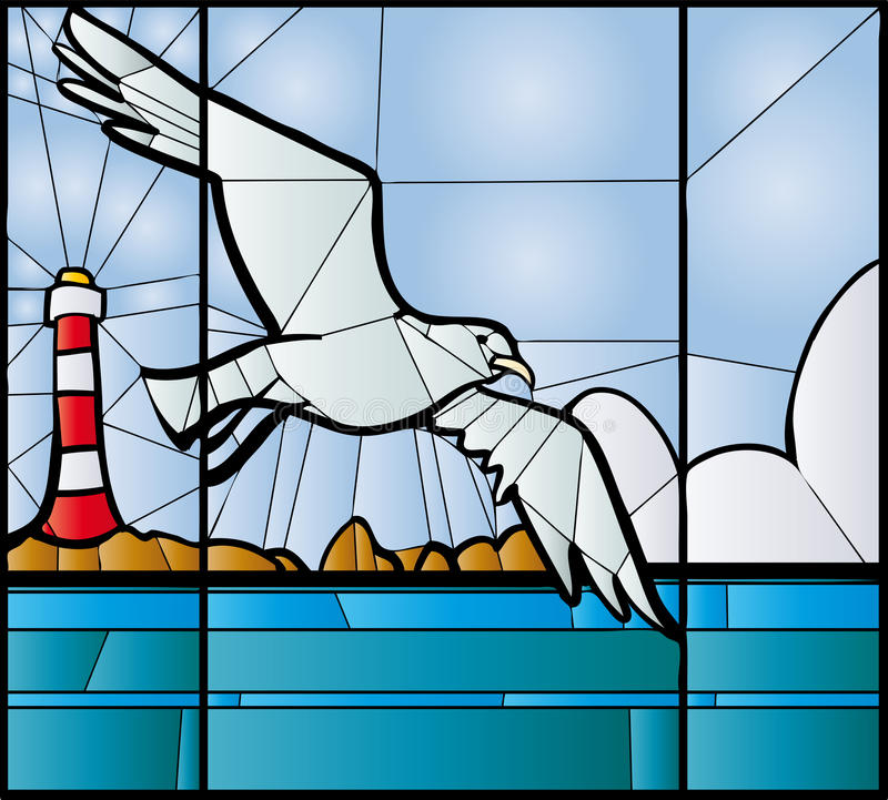 Vitral de la gaviota stock de ilustración