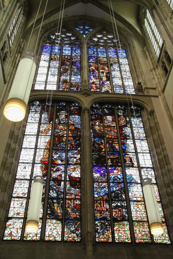 Vitral de St Martins Cathedral en Utrecht, el Ne fotografía de archivo libre de regalías