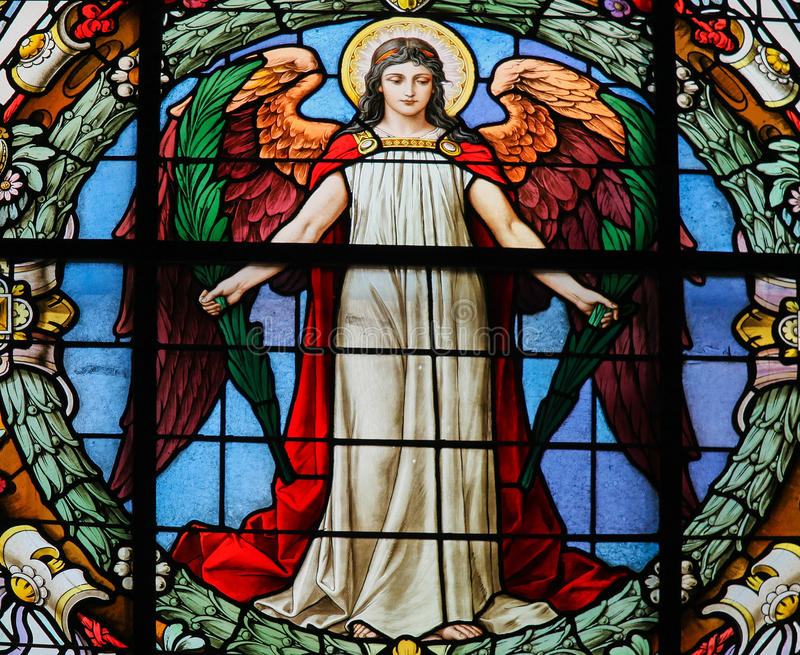 Vitral de un ángel imágenes de archivo libres de regalías