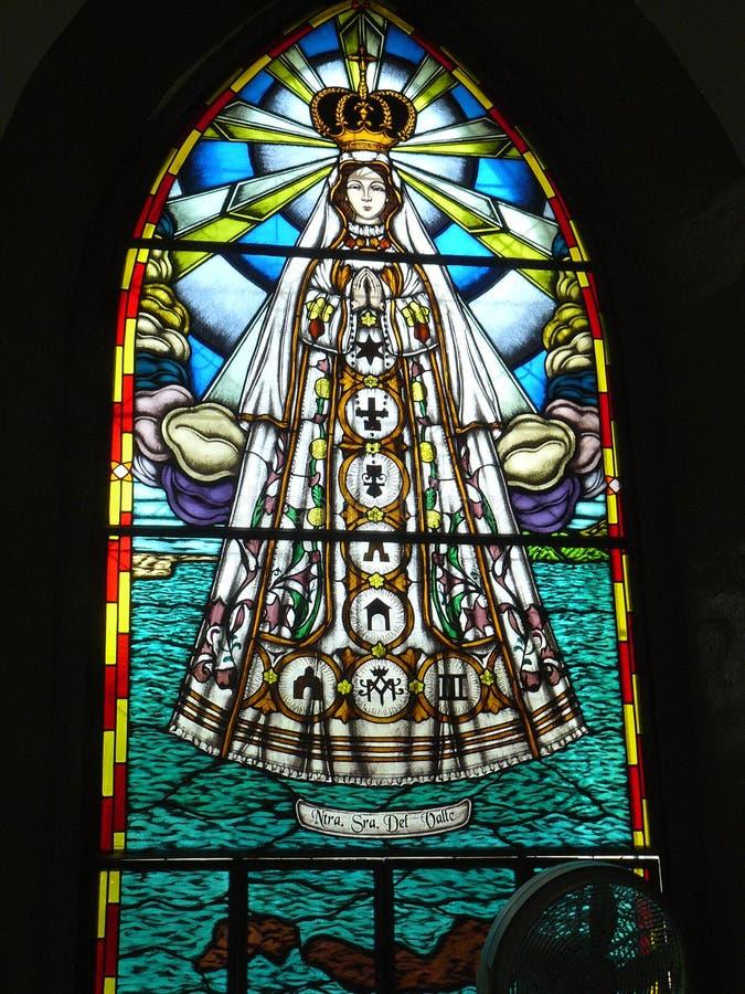 Vitral del chuch de Valle del del de Virgen, isla de Margarita foto de archivo