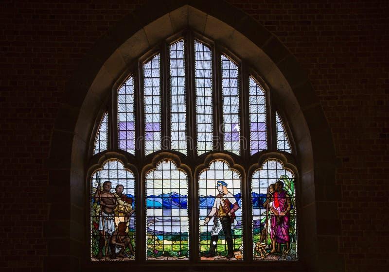 Vitral del Dr. Livingstone - la iglesia de la misión de Livingstonia fotografía de archivo libre de regalías