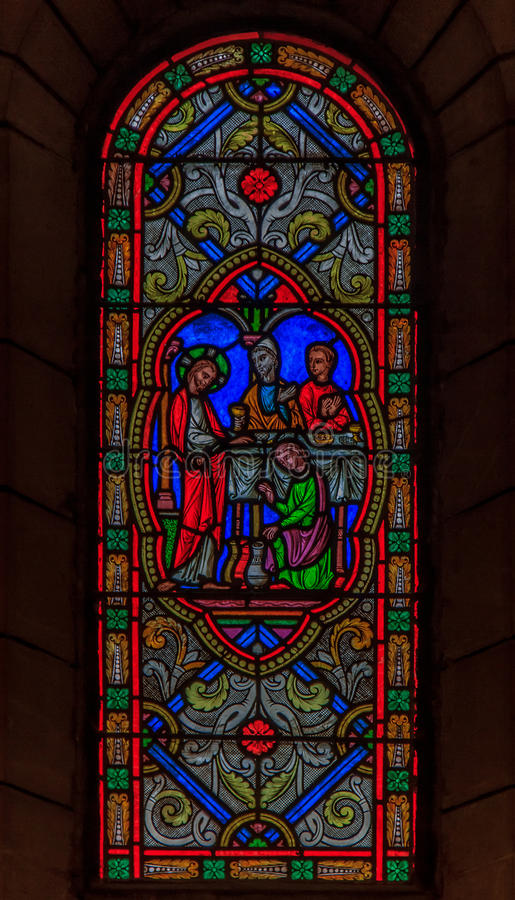 Vitral en el santo Nicholas Cathedral Monaco Ville fotografía de archivo