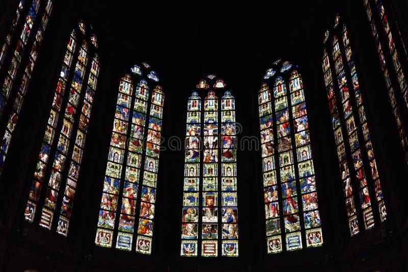 Vitral en el santo Walburga de la iglesia fotos de archivo
