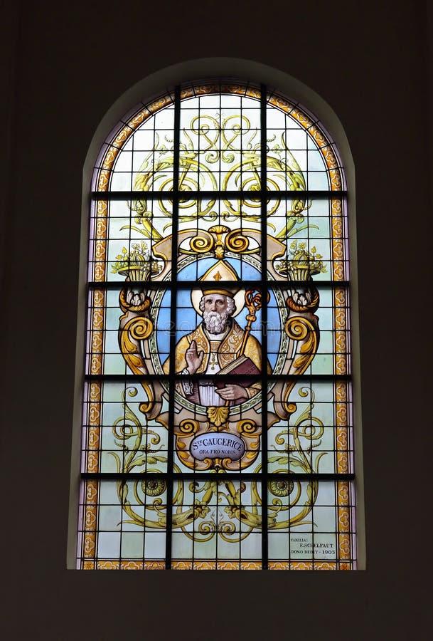 Vitral en las riquezas-Claires aux. de Notre-Dame de la iglesia imágenes de archivo libres de regalías