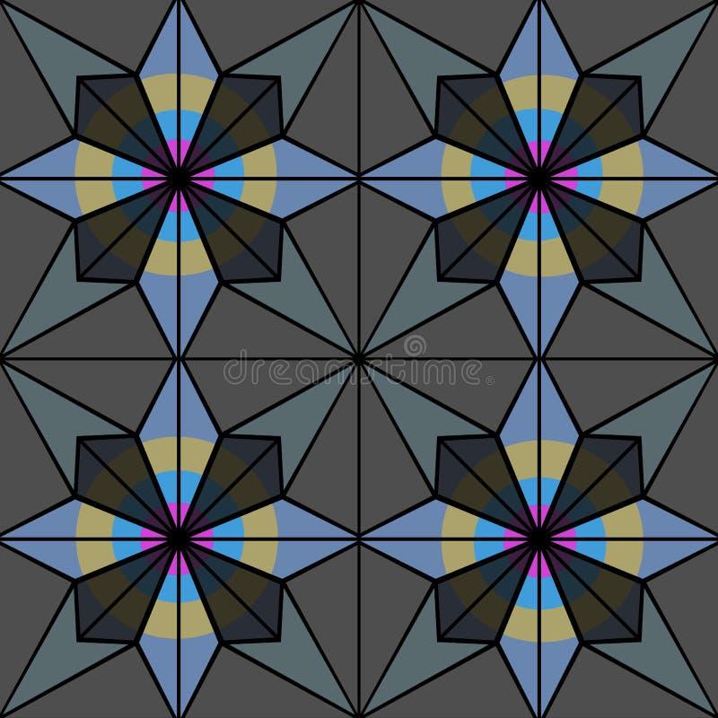 Vitral ou azulejos com teste padrão sem emenda Bitmap da ilustração imagem de stock royalty free