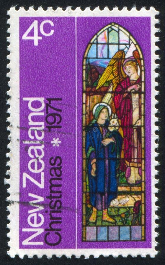 Vitral que representa ángel y a la mujer imágenes de archivo libres de regalías