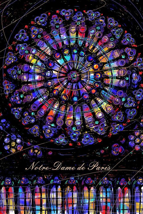 Vitral redondo 'Rose de la catedral del Notre-Dame de Paris stock de ilustración