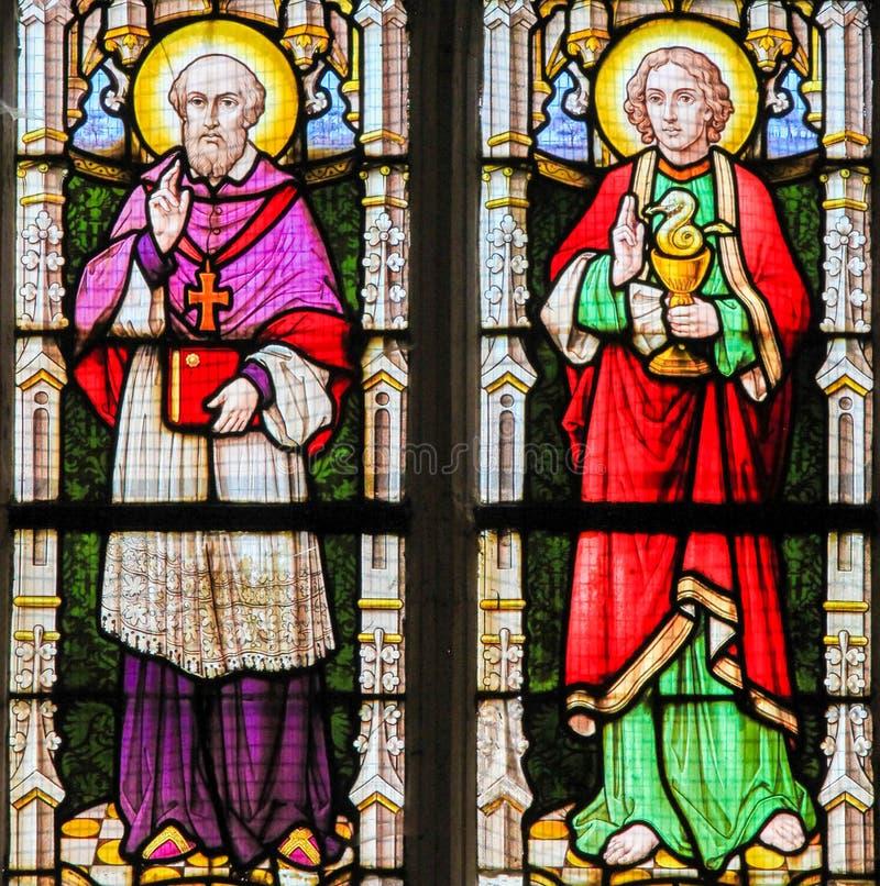Vitral - Saint Francis Xavier e St John o Evangeli imagem de stock