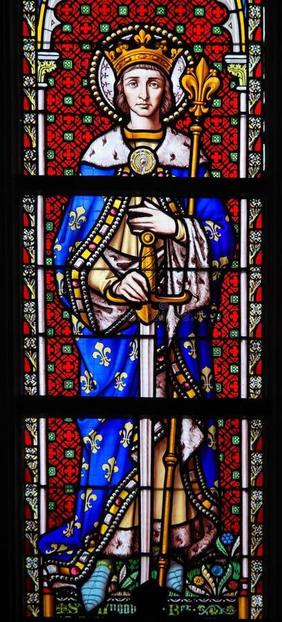 Vitral - Saint Louis, rey de Francia imágenes de archivo libres de regalías