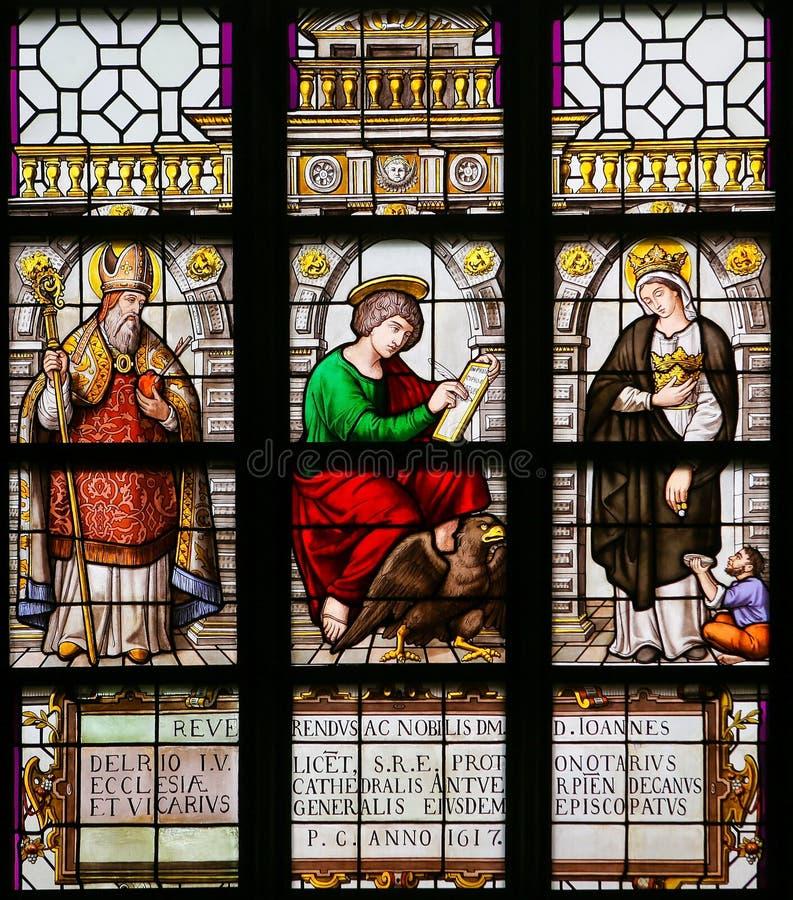 Vitral - St Augustine, John o evangelista e Elizabe ilustração royalty free