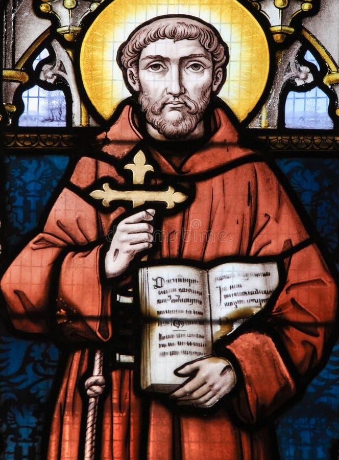 Vitral - St Francis de Assisi fotografia de stock
