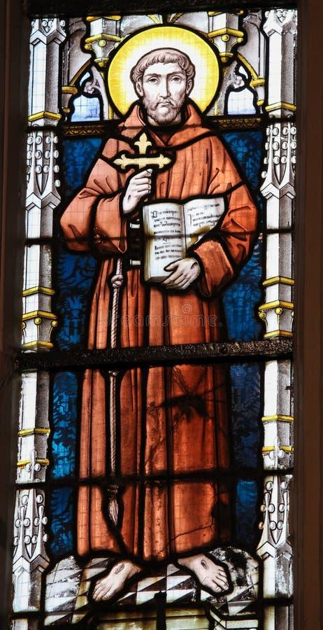 Vitral - St Francis de Assisi fotos de stock