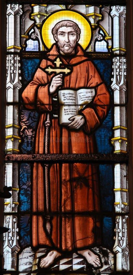 Vitral - St Francis de Assisi fotografia de stock royalty free