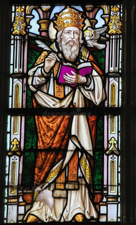 Vitral - St Gregory el grande fotografía de archivo libre de regalías