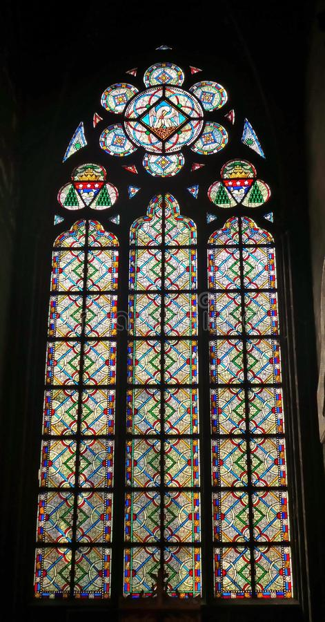 Vitral Window in the Cathedral Notre Dame stock images