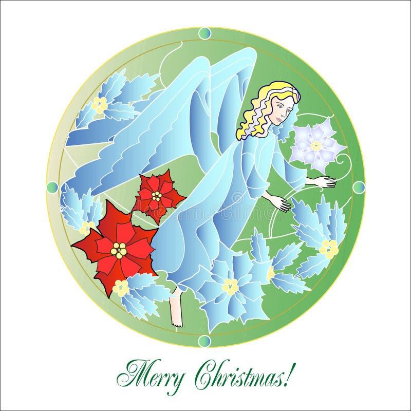 Vitral Windows com anjo do Natal ilustração royalty free