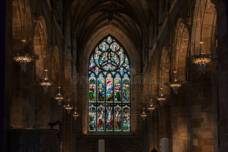 Vitral Windows na catedral do ` de St Giles, Edimburgo fotografia de stock royalty free