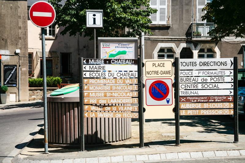 Road signs with landmarks names on street in Vitre royalty free stock photo