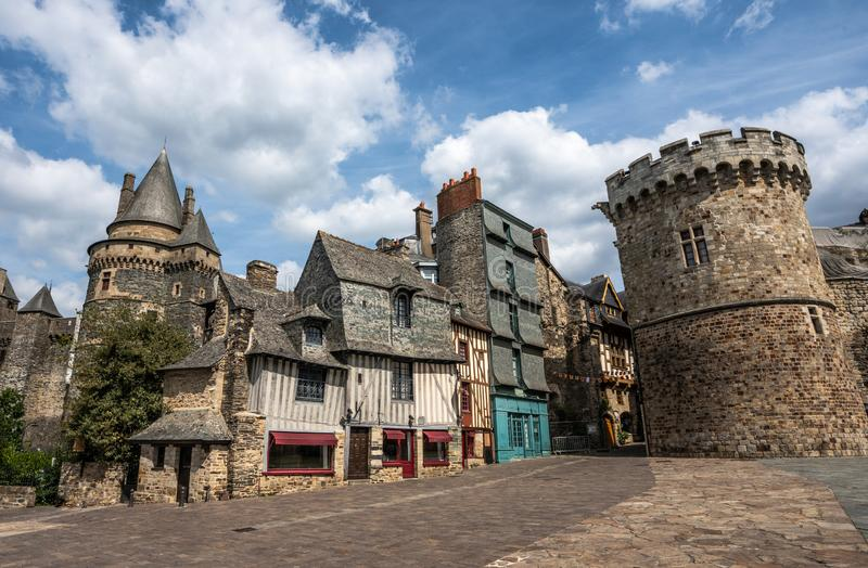 Vitre medieval old town buildings and stone wall. royalty free stock images