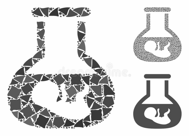In vitro embryo Mosaic Icon of Trembly Pieces. In vitro embryo mosaic of abrupt elements in variable sizes and color tints, based on in vitro embryo icon. Vector royalty free illustration