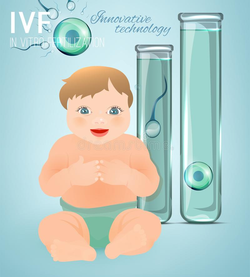 In vitro fertilisation concept. Medical, biological and healthcare background with a baby. Artificial insemination image. Editable vector illustration in light stock illustration