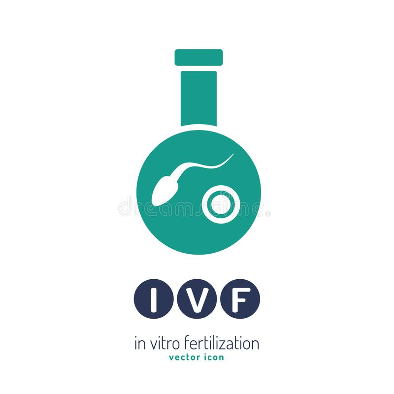 In vitro fertilisation icon. Medical, biological and healthcare concept. Artificial insemination element. Vector illustration in violet and green colors stock illustration