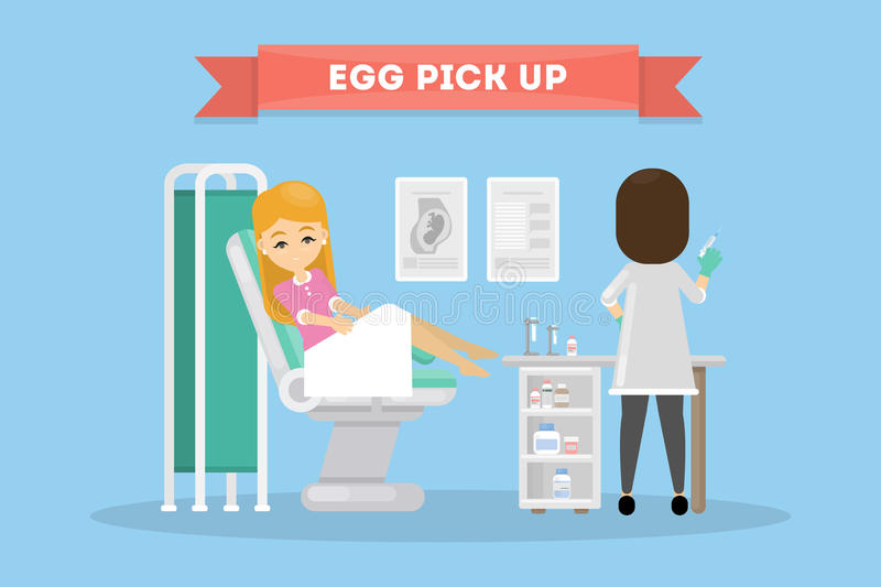 In vitro fertilization. Egg pick up. Woman in lab with scientist royalty free illustration