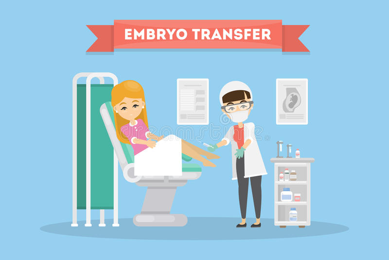In vitro fertilization. Embryo transfer. Woman in lab with scientist stock illustration