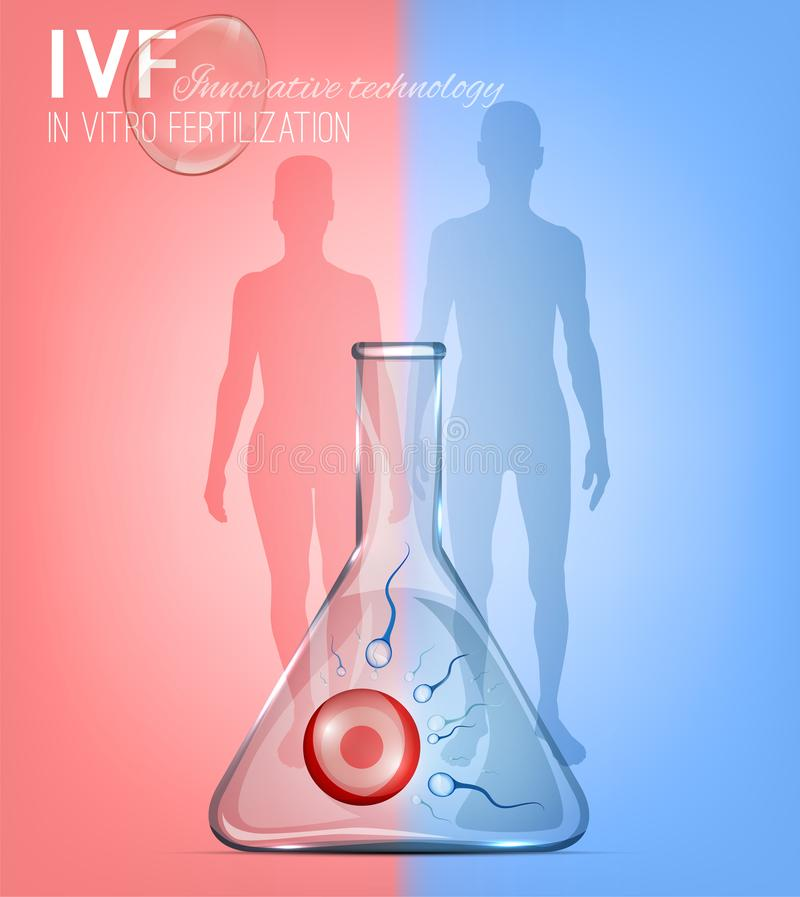 In Vitro Fertilization image. With glass tube and people silhouettes. Beautiful photo-realistic vector illustration in light blue and pink colours. Medical royalty free illustration