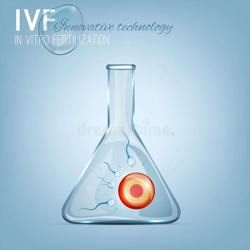 In Vitro Fertilization. Process image. IVF photo-realistic vector illustration isolated on a light blue background. Reproductive technologies concept stock illustration