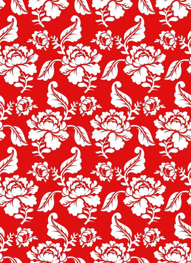 Vitros på den traditionella ryska prydnaden för röd bakgrund stock illustrationer
