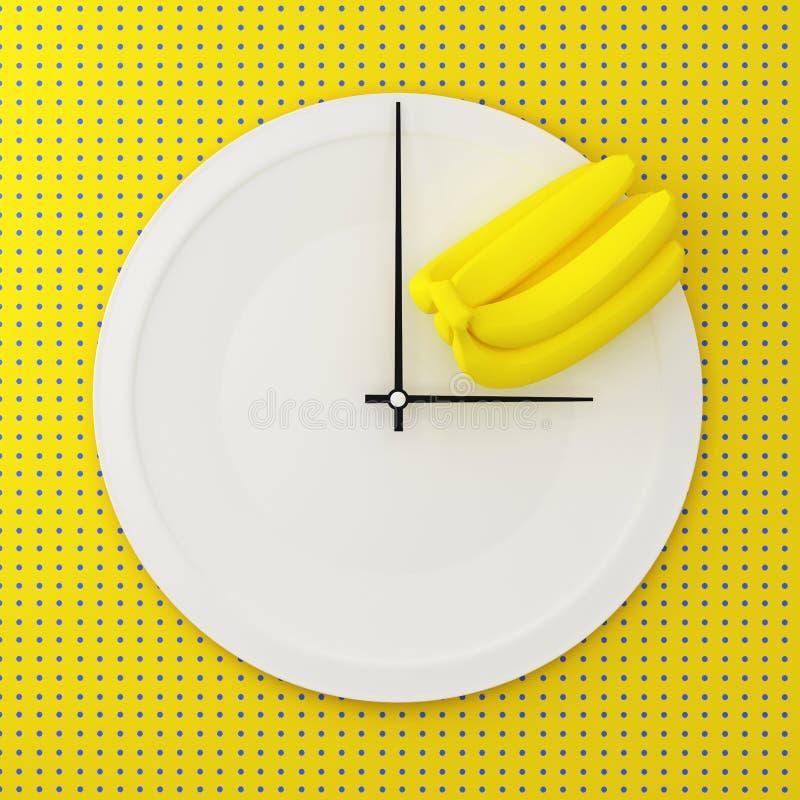 Vitrundaplatta med bananen i en form av klockan på punktsmattrande royaltyfri illustrationer