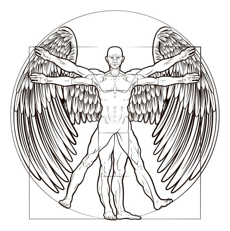 Vitruvian人天使 向量例证