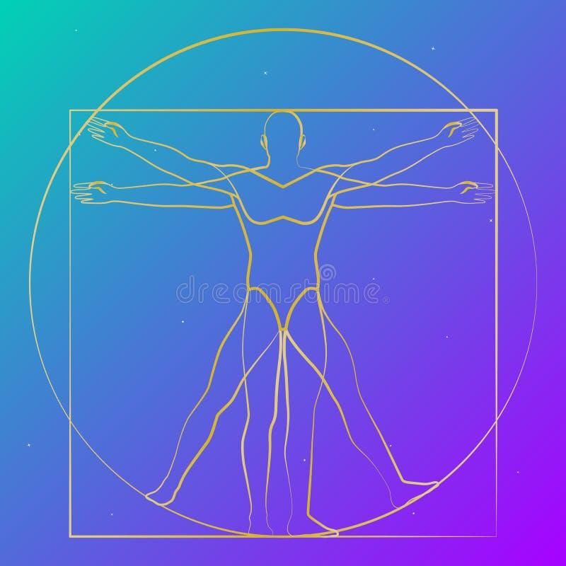 Vitruvian人满天星斗的天空,现代形状,传染媒介 皇族释放例证