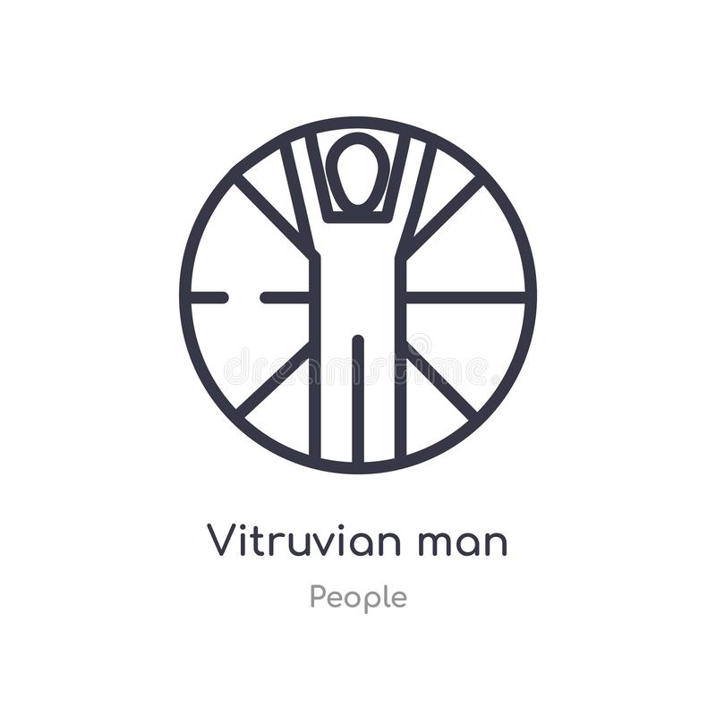 vitruvian значок плана человека изолированная линия иллюстрация вектора от собрания людей значок человека editable тонкого хода v иллюстрация штока