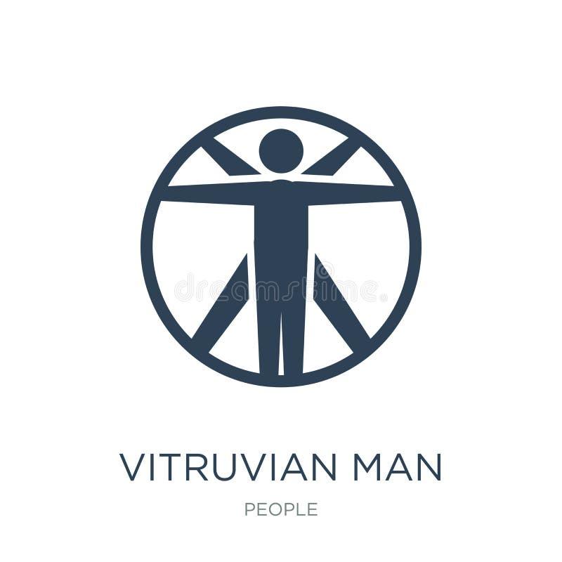 vitruvian значок человека в ультрамодном стиле дизайна vitruvian значок человека изолированный на белой предпосылке vitruvian зна иллюстрация штока