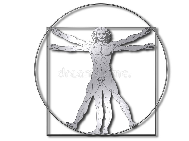 vitruvian davinci royaltyfri illustrationer