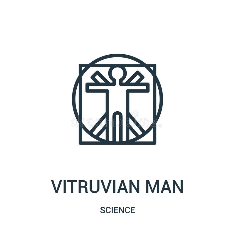 vitruvian mężczyzna ikony wektor od nauki kolekcji Cienka kreskowa vitruvian mężczyzny konturu ikony wektoru ilustracja Liniowy s ilustracji