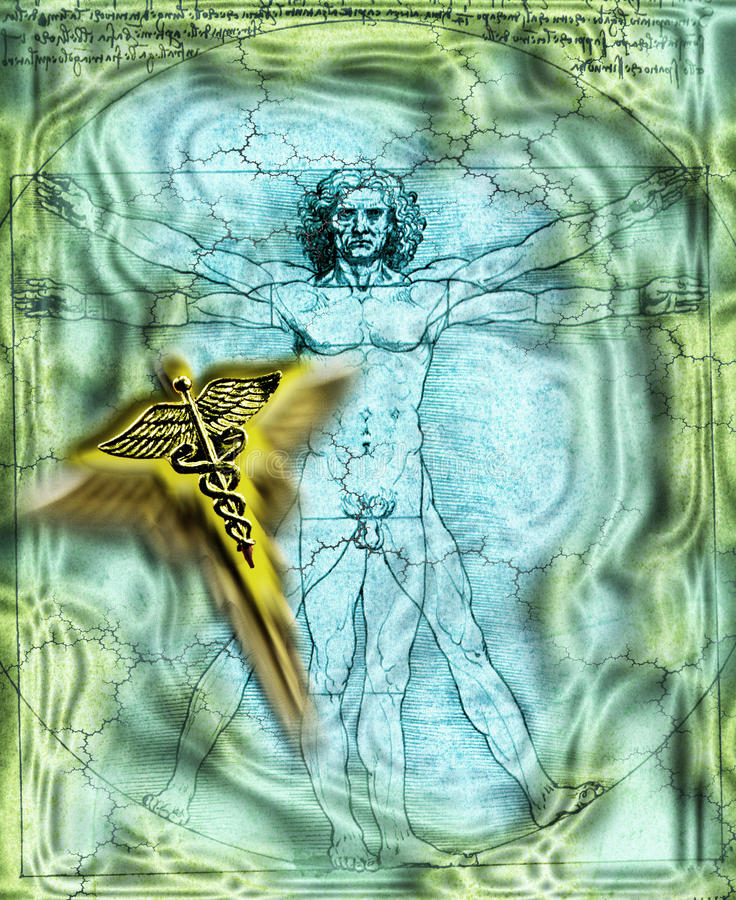 Vitruvian Man Caduceus Medicine Editorial Stock Image