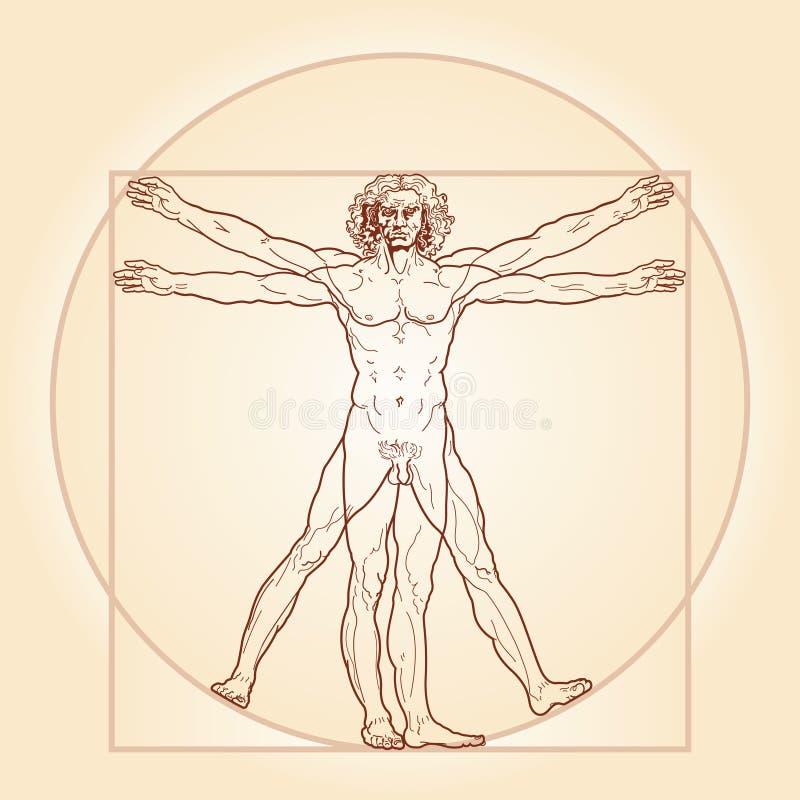 The Vitruvian man (Homo vitruviano). «HOMO VITRUVIANO». So-called The Vitruvian man a.k.a. Leonardo's man. Detailed image drawing on the