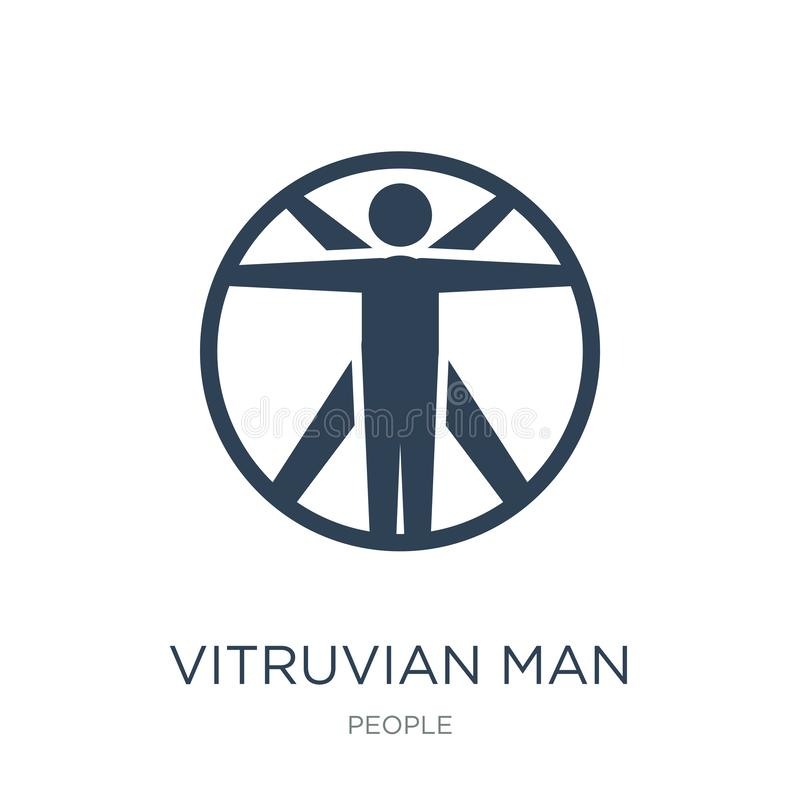 Vitruvian man icon in trendy design style. vitruvian man icon isolated on white background. vitruvian man vector icon simple and. Modern flat symbol for web stock illustration