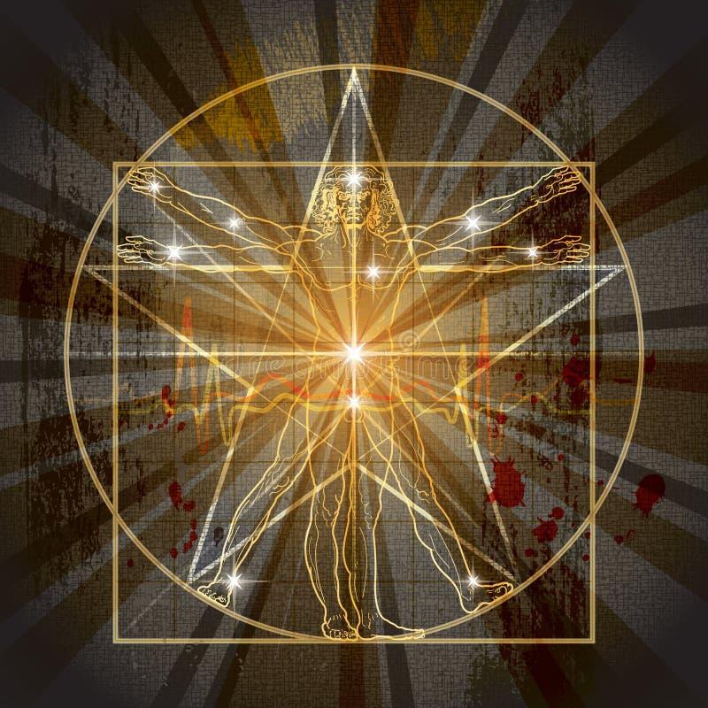 The Vitruvian Man Inscribed In The Pentagram stock illustration