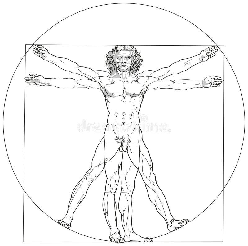 Vitruvian man Leonardo da Vinci royaltyfri illustrationer