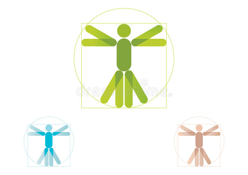 Vitruvian man logo royalty free illustration