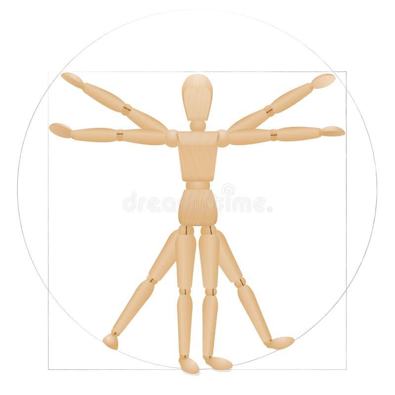 Vitruvian Mannequin Drewniana postać royalty ilustracja