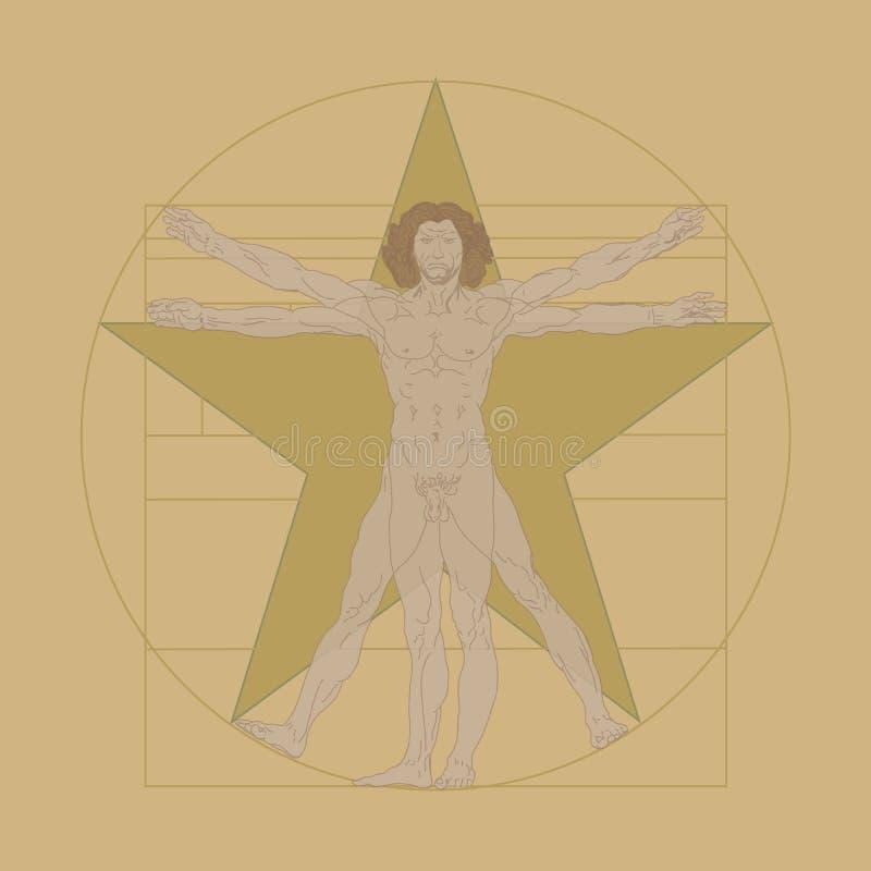 Vitruvianmens, Leonardo da Vinci royalty-vrije illustratie