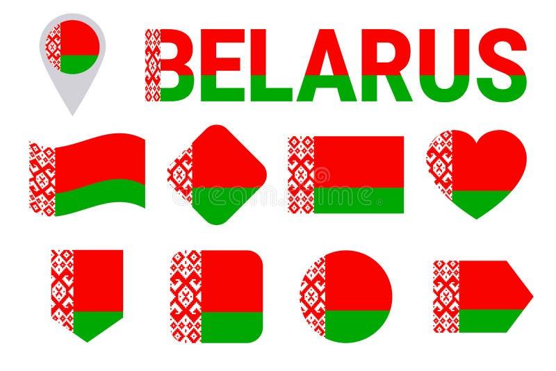 Vitryssland flaggasamling Vitryssflaggauppsättning Isolerade symboler för vektor lägenhet med tillståndsnamn Traditionella färger vektor illustrationer